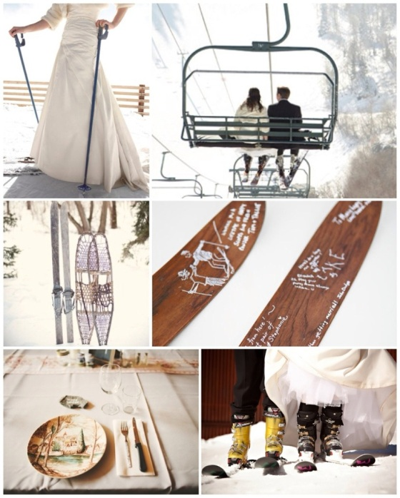 Skiing Bride, Lift Couple, Snowshoes & Skis, Guestbook Skis, Place Setting, Ski Boots